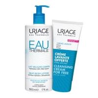 Uriage Eau thermale - Набор (Увлажняющее молочко для тела, 500 мл + Очищающий пенящийся крем, 200 мл), 1 шт