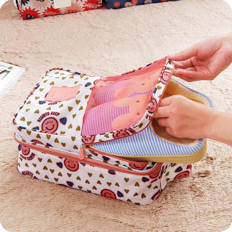 Дорожная сумка для хранения обуви Розово-белая со смайликами