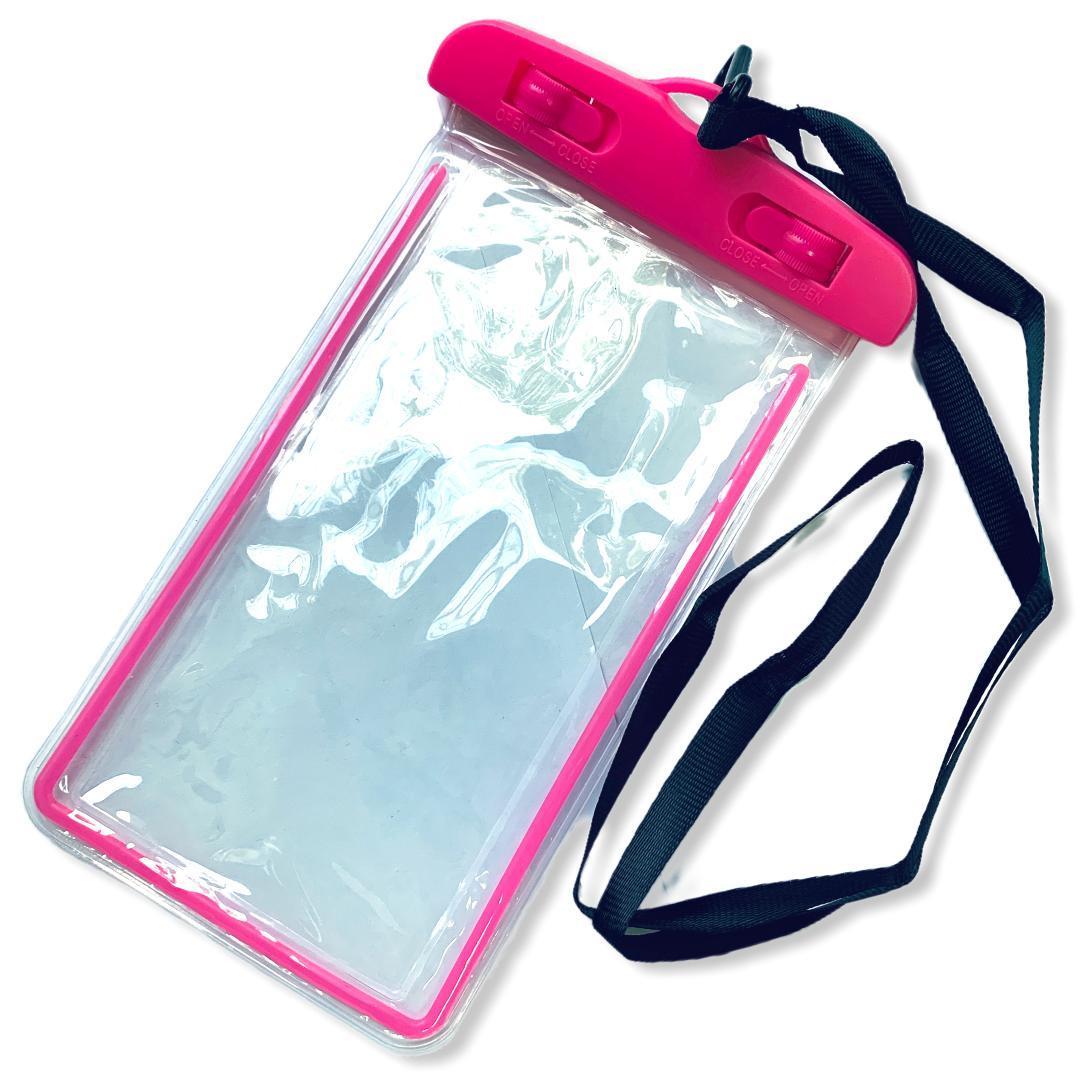 Водонепроницаемый чехол для смартфонов  15*8 см, с отражателем, два фиксатора Розовый