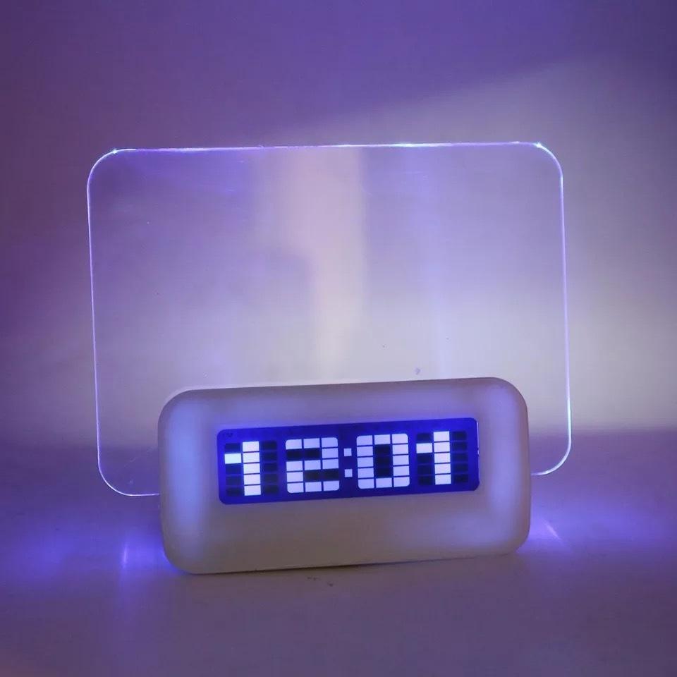 Креативные часы-будильник доска для сообщений светящаяся с маркером