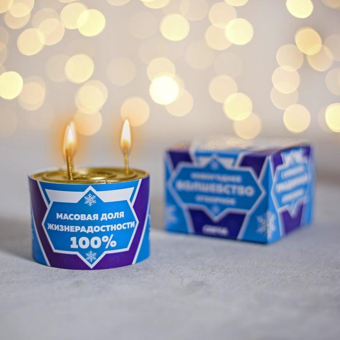 Прикольная свеча подарочная «Новогоднее волшебство отборное», 7 х 7 х 5 см