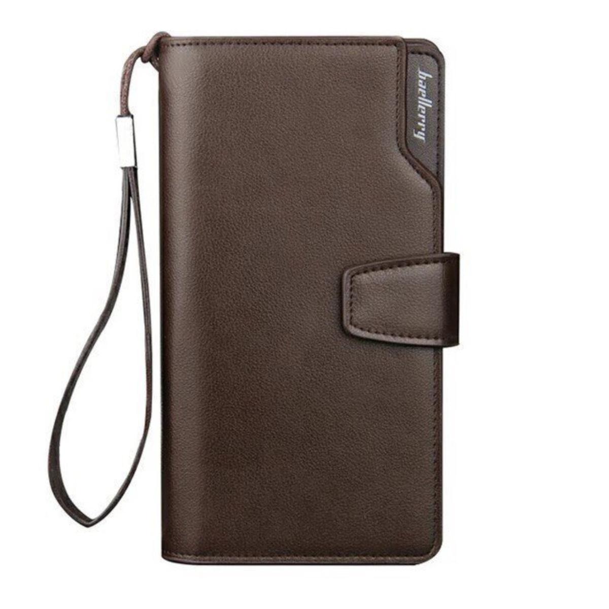 Мужской портмоне клатч кошелек на застежке Baellerry Коричневый