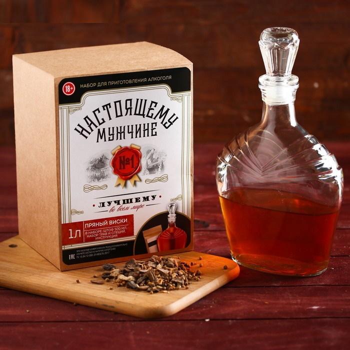 Подарочный набор для приготовления алкоголя Пряный виски: набор трав и специй, штоф 500 мл