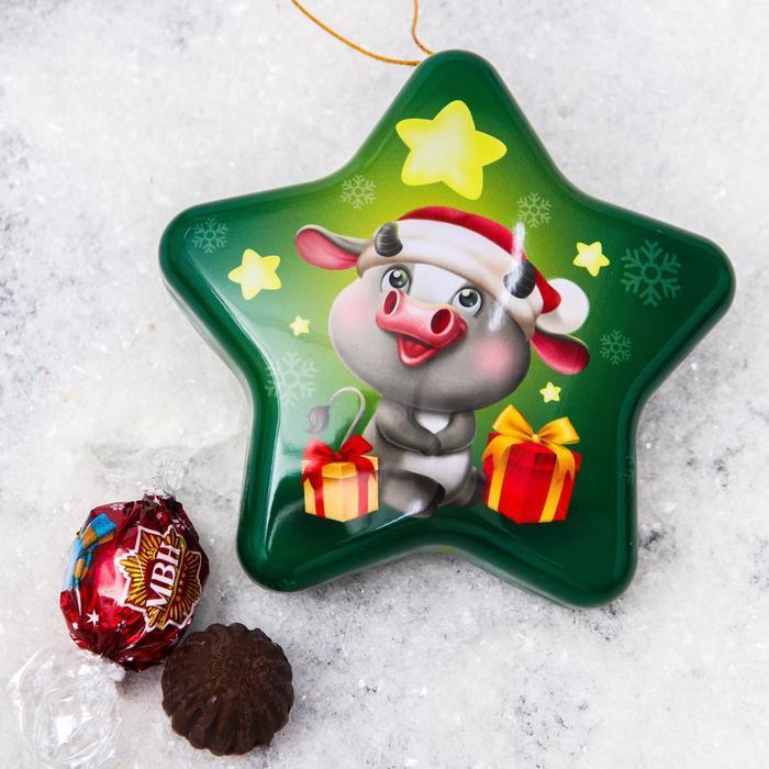Конфеты шоколадные «Вжух»: со вкусом пломбира с карамелью в шкатулке-звезда, 100гр