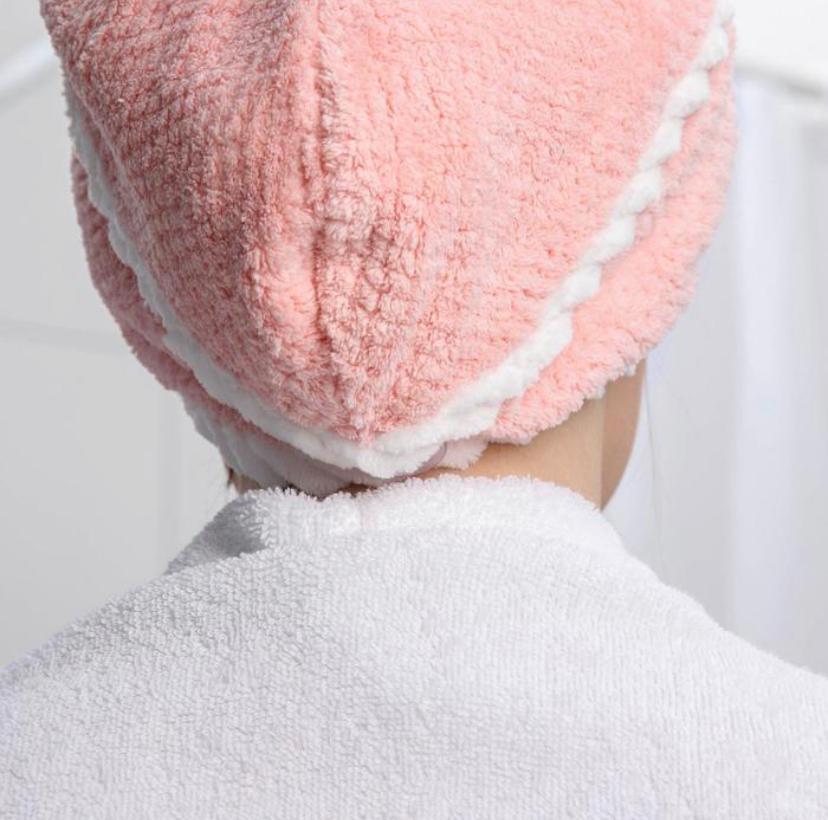 Тюрбан полотенце для сушки волос с пуговицей