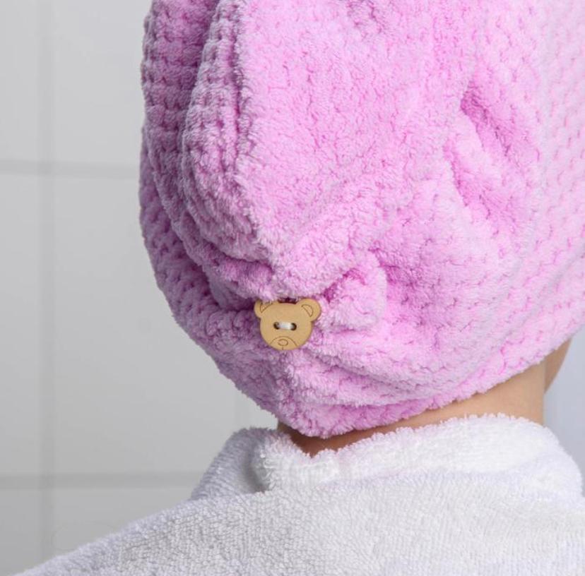 Тюрбан полотенце для сушки волос с пуговицами Мишки цвет Светло-коричневый