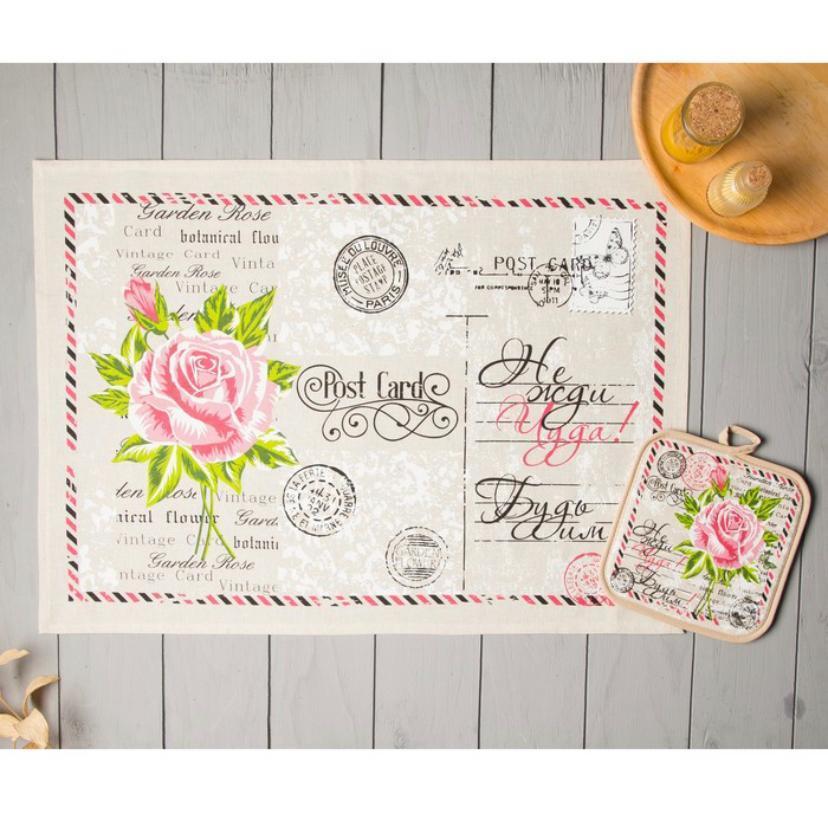 Кухонный набор полотенце 45*60 и прихватка 18*18 Открытка Розы