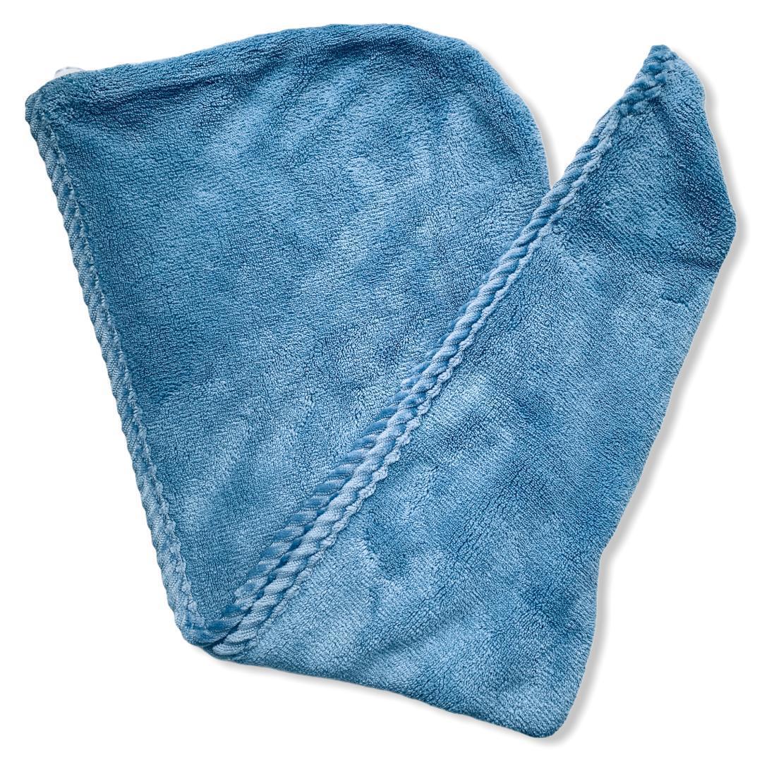 Тюрбан полотенце для сушки волос с пуговицами Мишки цвет Синий
