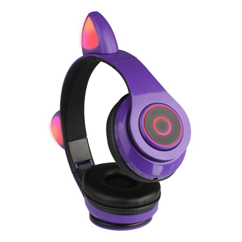 Беспроводные наушники со светящимися кошачьими ушками Фиолетовый