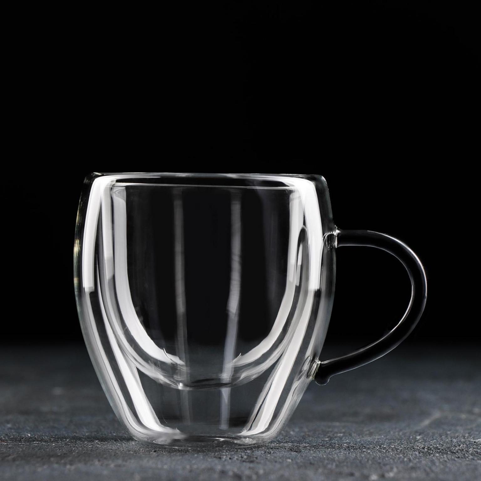 Чашка с двойными стенками Адель, 200 мл, цвет чёрный