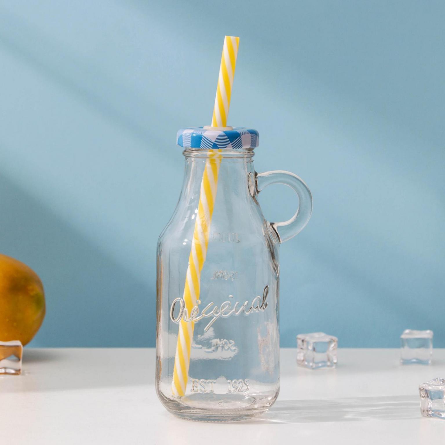 Кружка-Бутыль, 200 мл, с ручкой и крышкой под трубочку