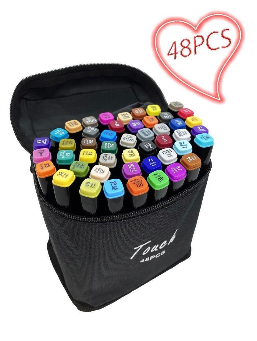 Набор профессиональных двусторонних маркеров для скетчинга 36 цвета в чехле маркеры для рисования