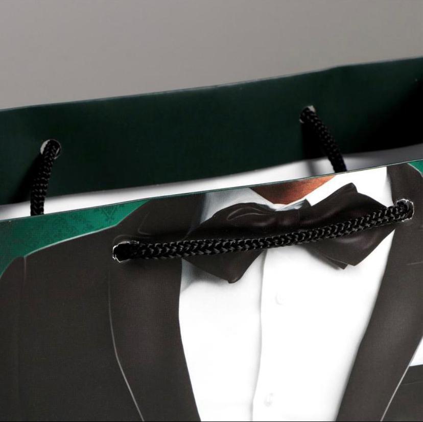 Пакет мужской ламинированный вертикальный Костюм с надписью Лучший 18  23  8 см
