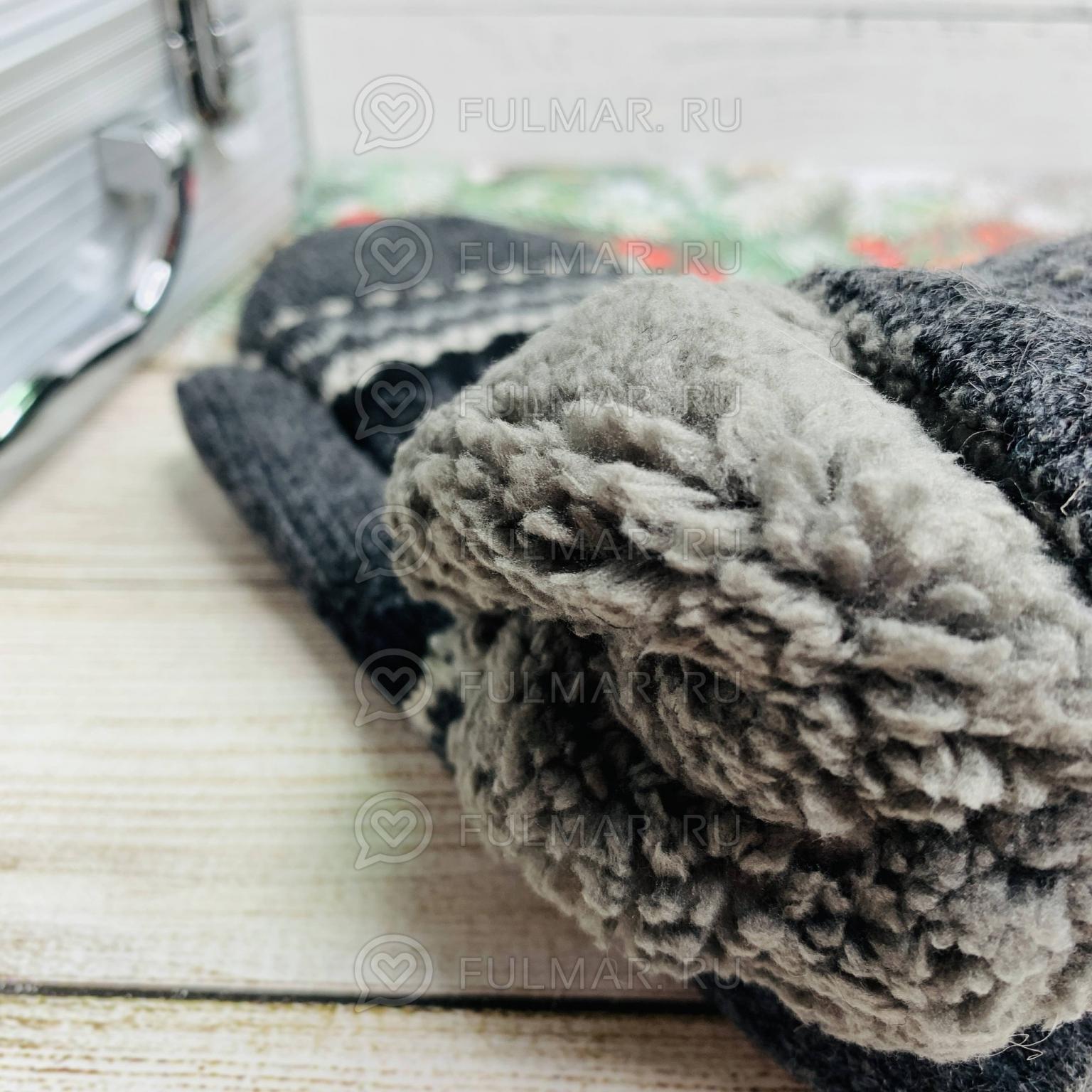 Варежки шерстяные вязаные Большая Снежинка тёмно-серые
