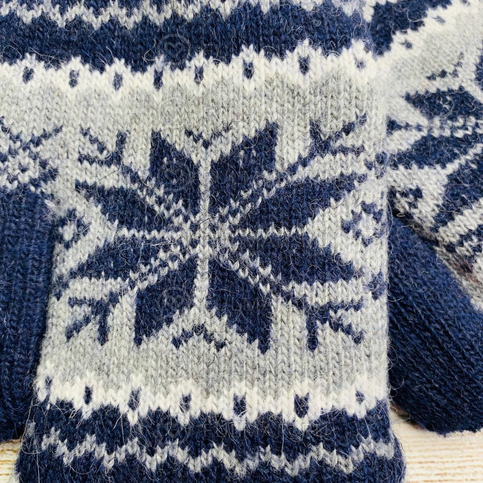 Варежки шерстяные вязаные Большая Снежинка синие