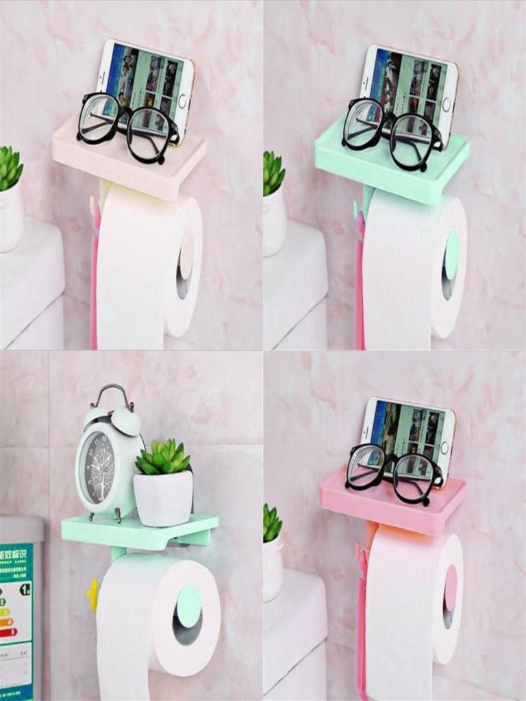 Держатель для туалетной бумаги с полочкой и крючком Белая