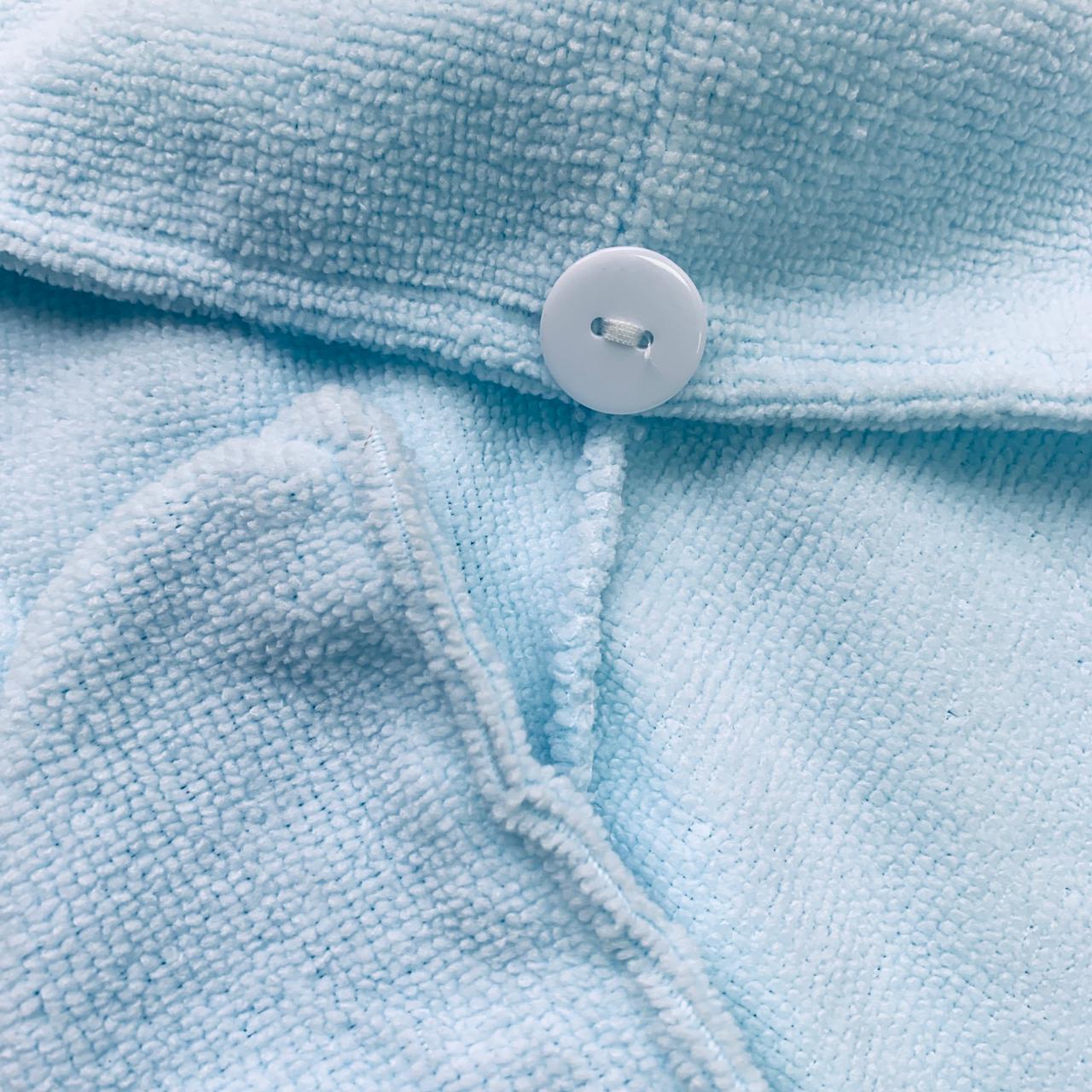 Тюрбан полотенце для сушки волос с пуговицей Светло-Голубой