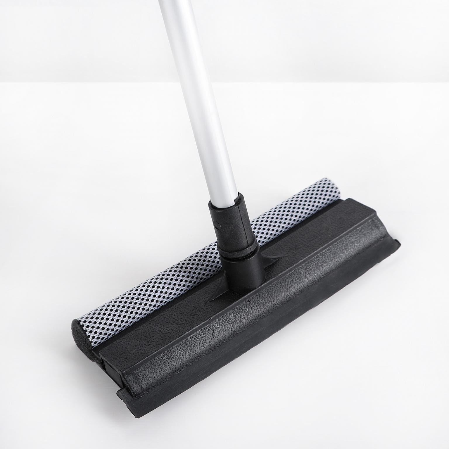 Окномойка с телескопической алюминиевой ручкой и сгоном, 20*8*60(97) см, рабочая поверхность 20 см, поролон