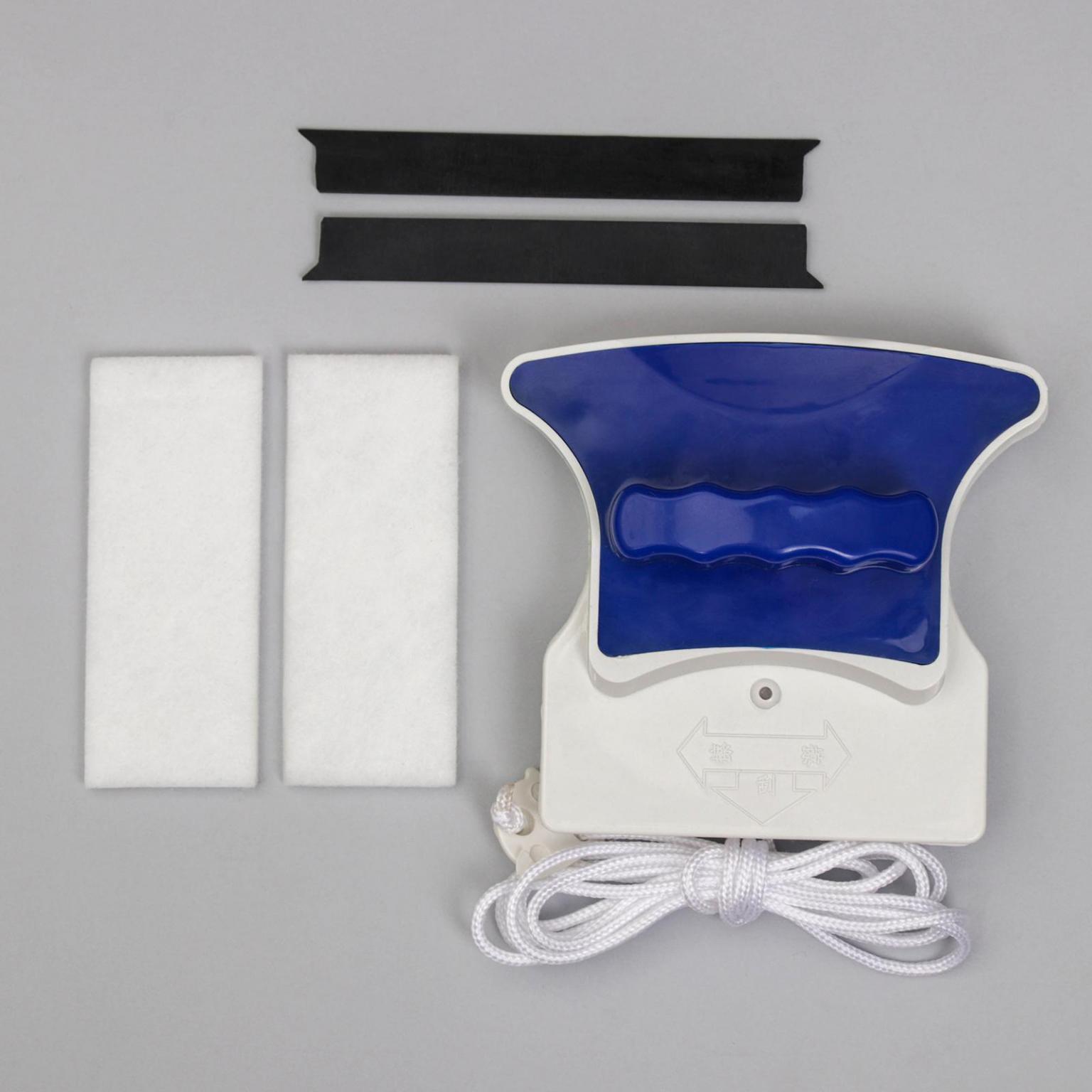 Магнитная щётка для мытья окон с двух сторон, с водосгоном, 8-16 мм