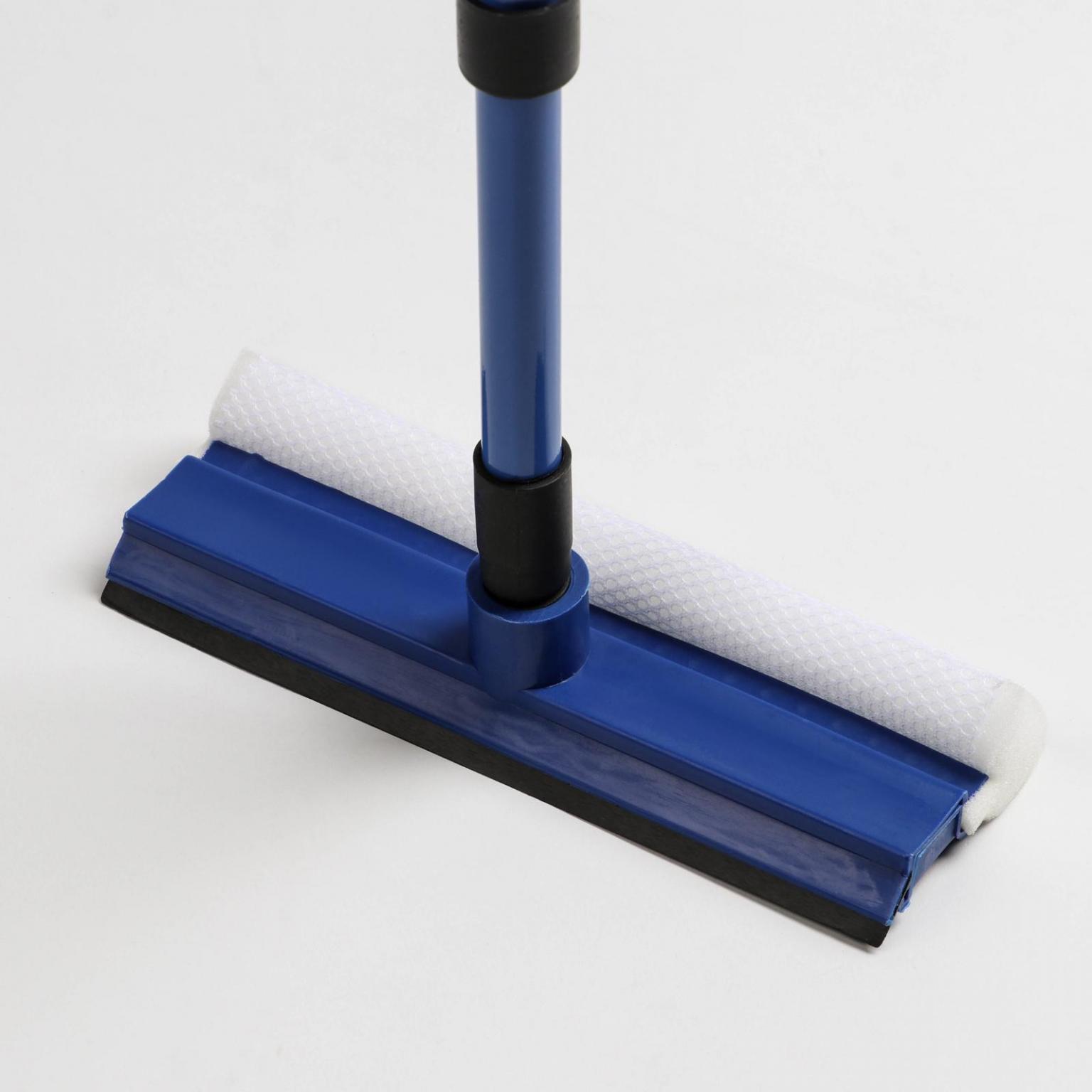 Окномойка с телескопической металлической окрашенной ручкой и сгоном, 2049(75) см, поролон, цвет синий