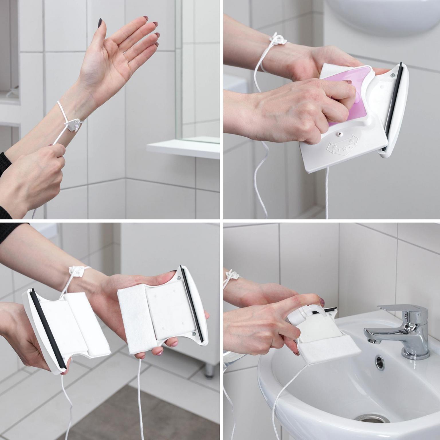 Магнитная щётка для мытья окон с двух сторон, с водосгоном, 15-24 мм