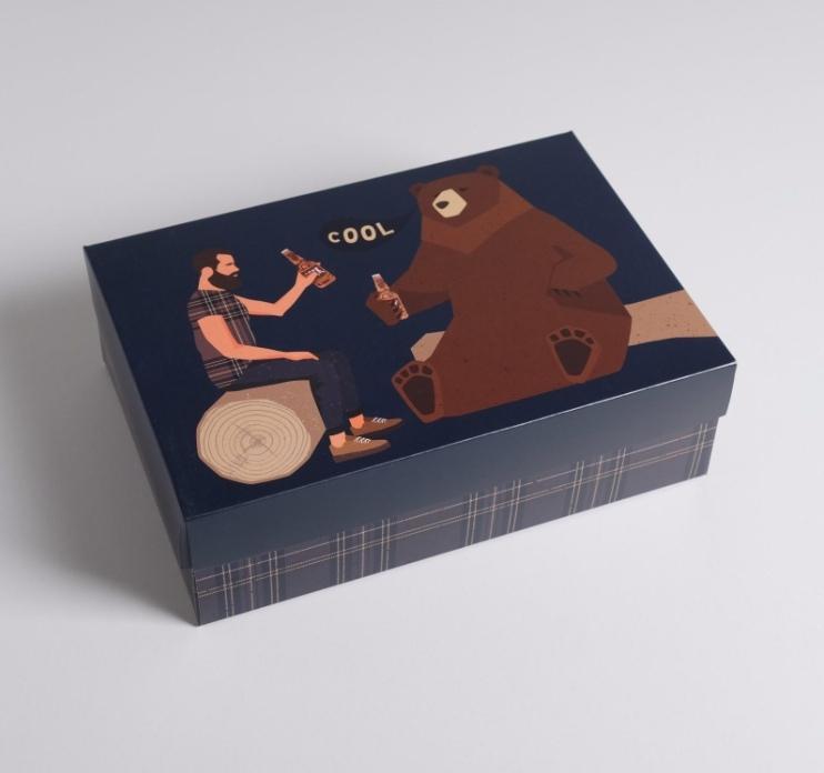 Коробка складная «Cool медведь и мужчина», 30  20  9 см
