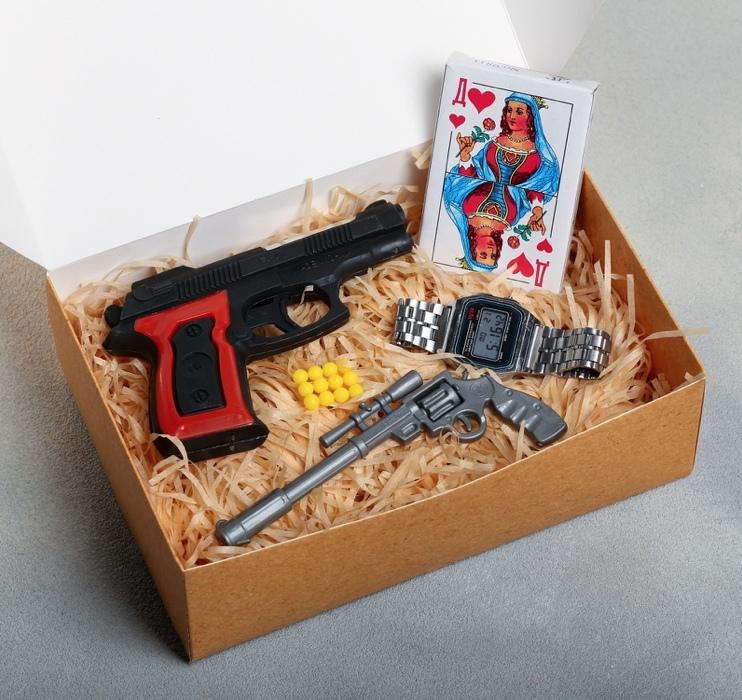 Набор «Лихие 90-е»: ручка, пистолет, карты, часы электронные