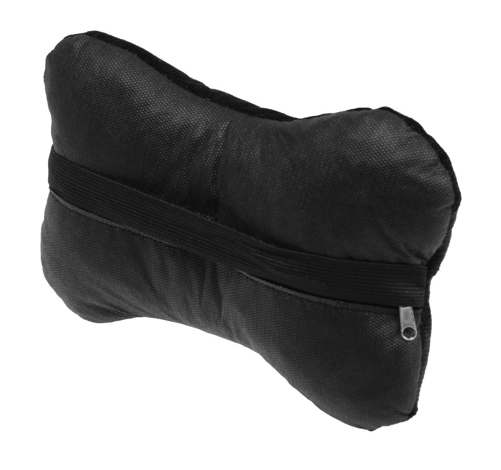 Подушка автомобильная косточка, на подголовник, велюр, черный, ромб, 18х26 см
