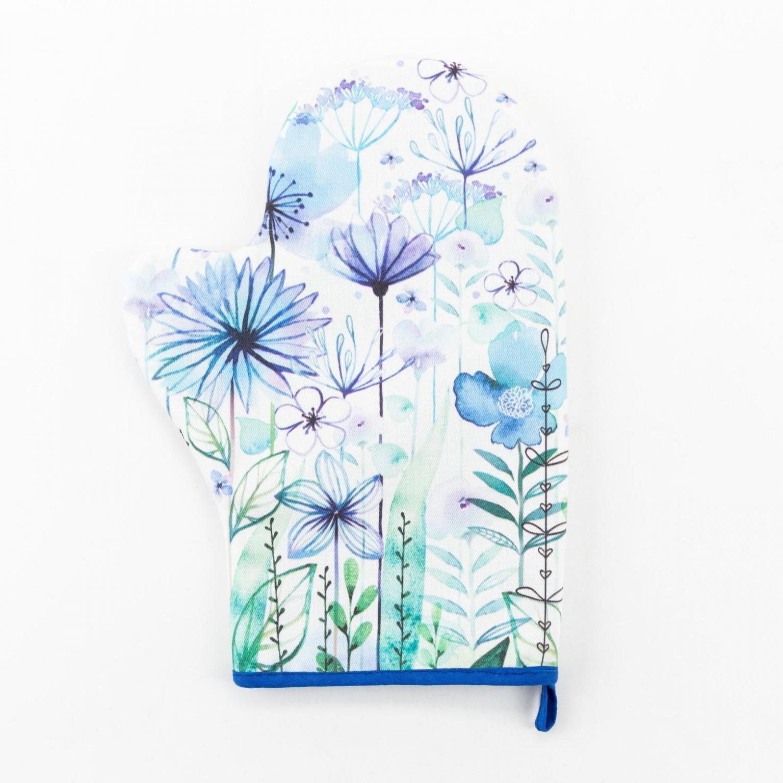Варежка-прихватка Blue flowers 20*28см,саржа