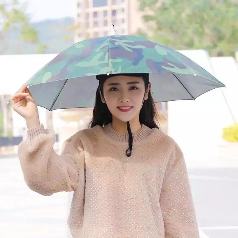 Зонт-шляпа на голову 77 см Камуфляжный на резинке