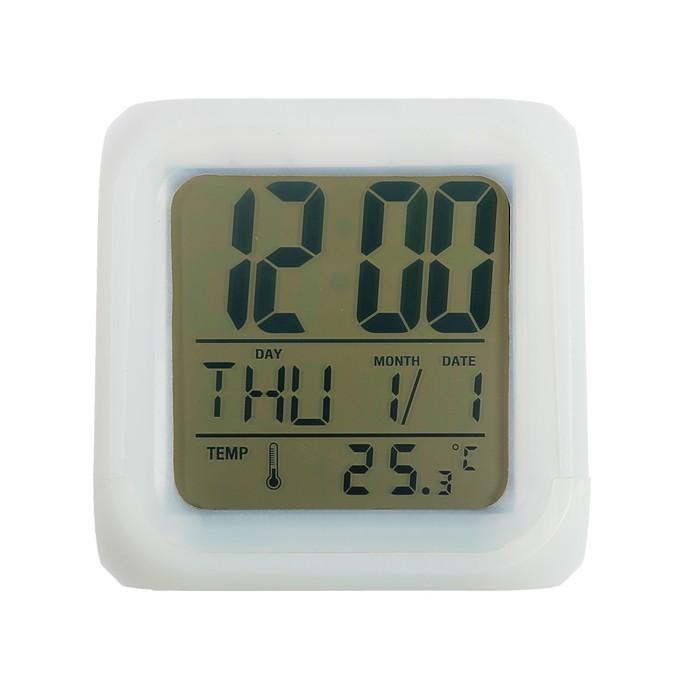 Будильник-ночник меняющий цвет: дата, температура
