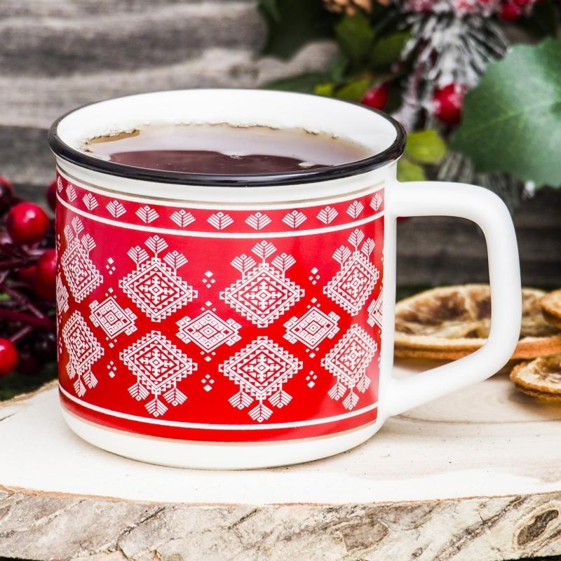Ретро чашка красный новогодний узор