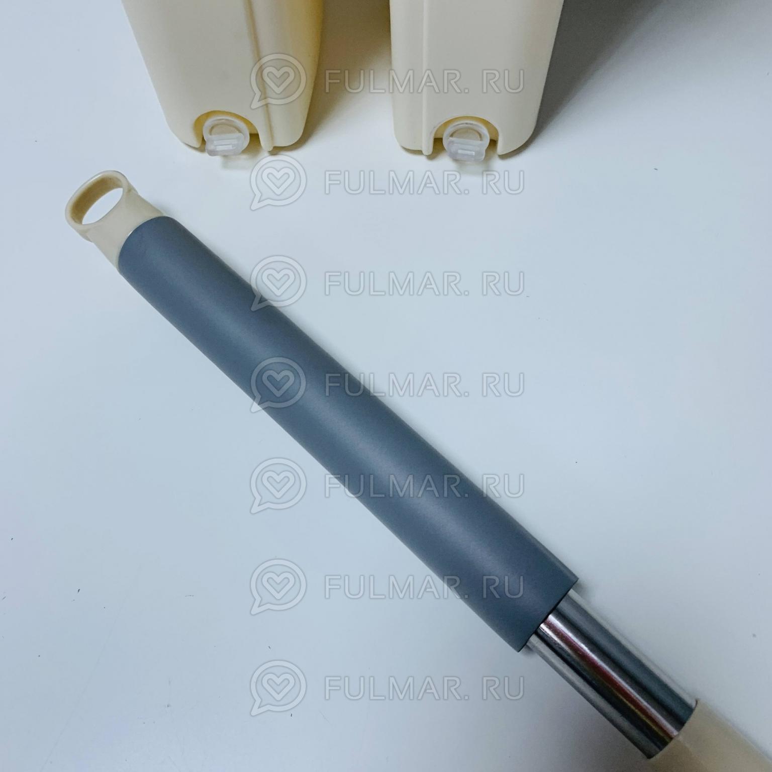 Плоская швабра, ведро с 2 отсеками для отжима и полоскания 8 л, доп.насадка Бежевая