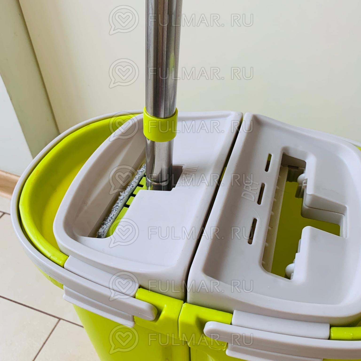Плоская швабра с микрофиброй и Мини Складным ведром для отжима и полоскания цвет: Салатовый